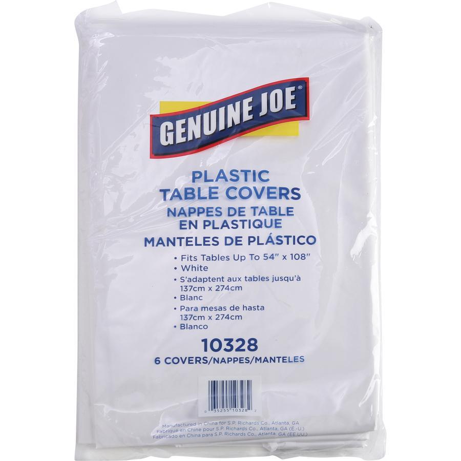 "Genuine Joe Plastic Rectangular Table Covers - 108"" Length x 54"" Width - Plastic - White - 6 / Pack. Picture 3"