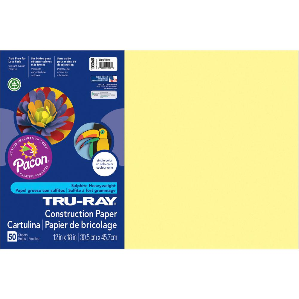 """Tru-Ray Heavyweight Construction Paper - 18"""" x 12"""" - 50 / Pack - Light Yellow - Sulphite. Picture 2"""