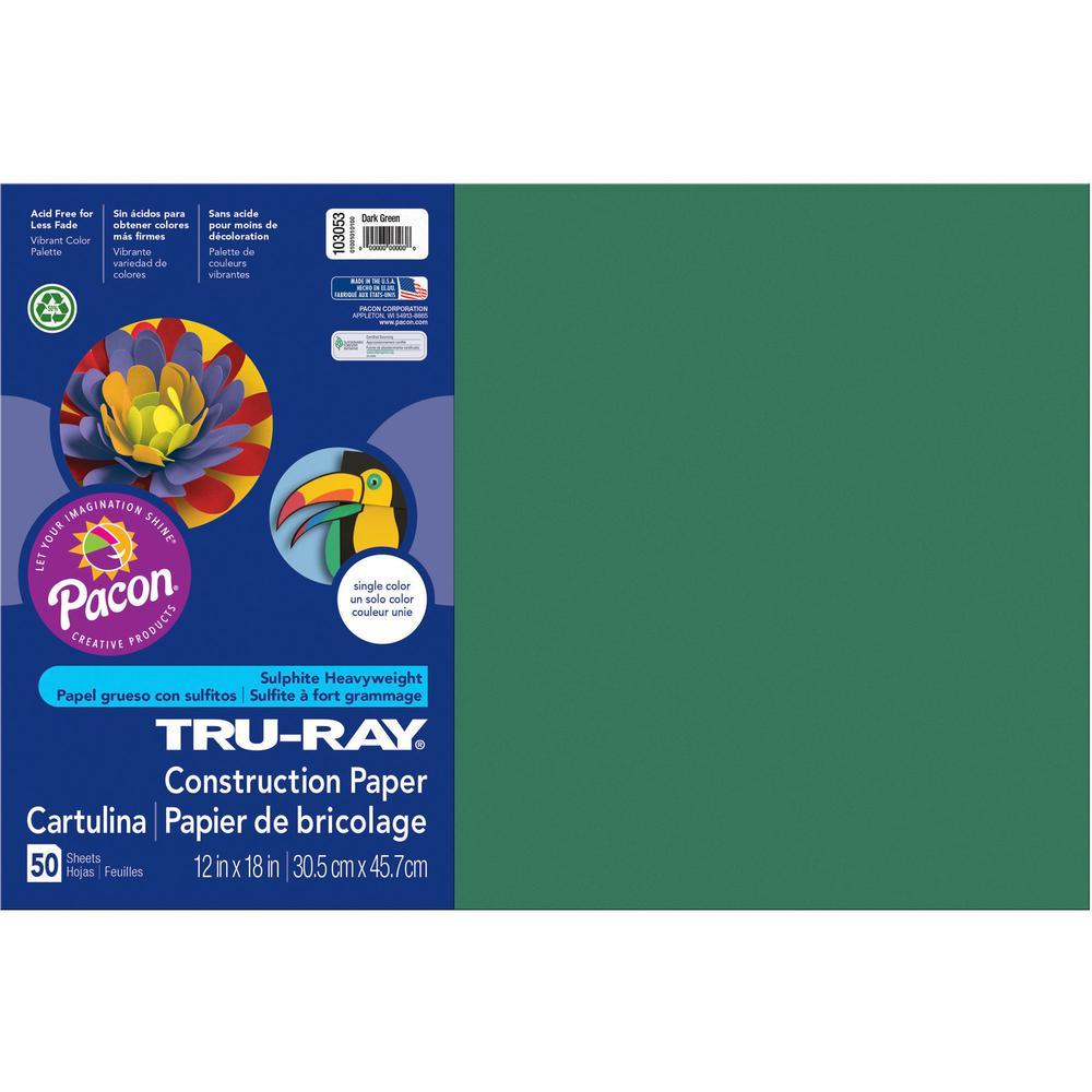 "Tru-Ray Heavyweight Construction Paper - 0.50"" x 18""12"" - 50 / Pack - Dark Green - Sulphite. Picture 2"