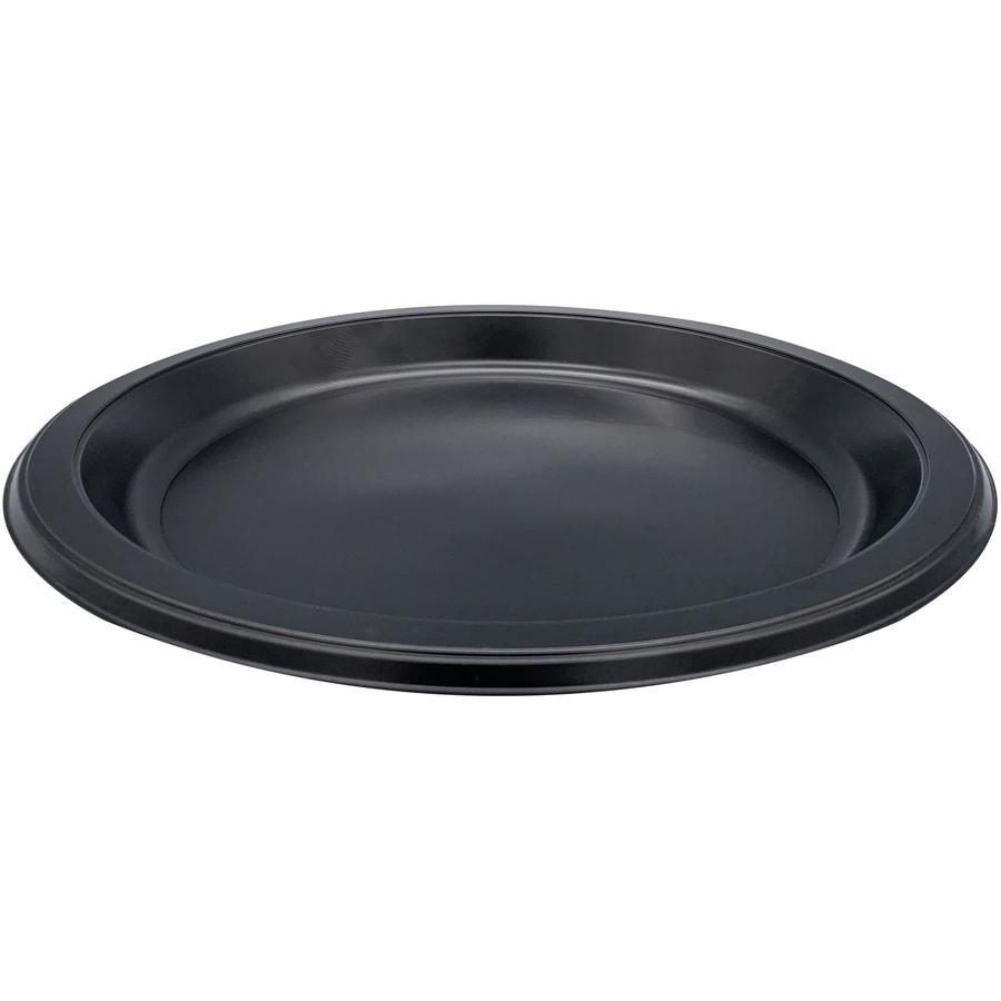 "Genuine Joe Round Plastic Black Plates - 9"" Diameter Plate - Plastic - Black - 125 Piece(s) / Pack. Picture 4"