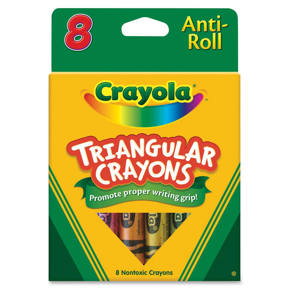 Crayola Triangular Anti-roll Crayons - Assorted - 8 / Box
