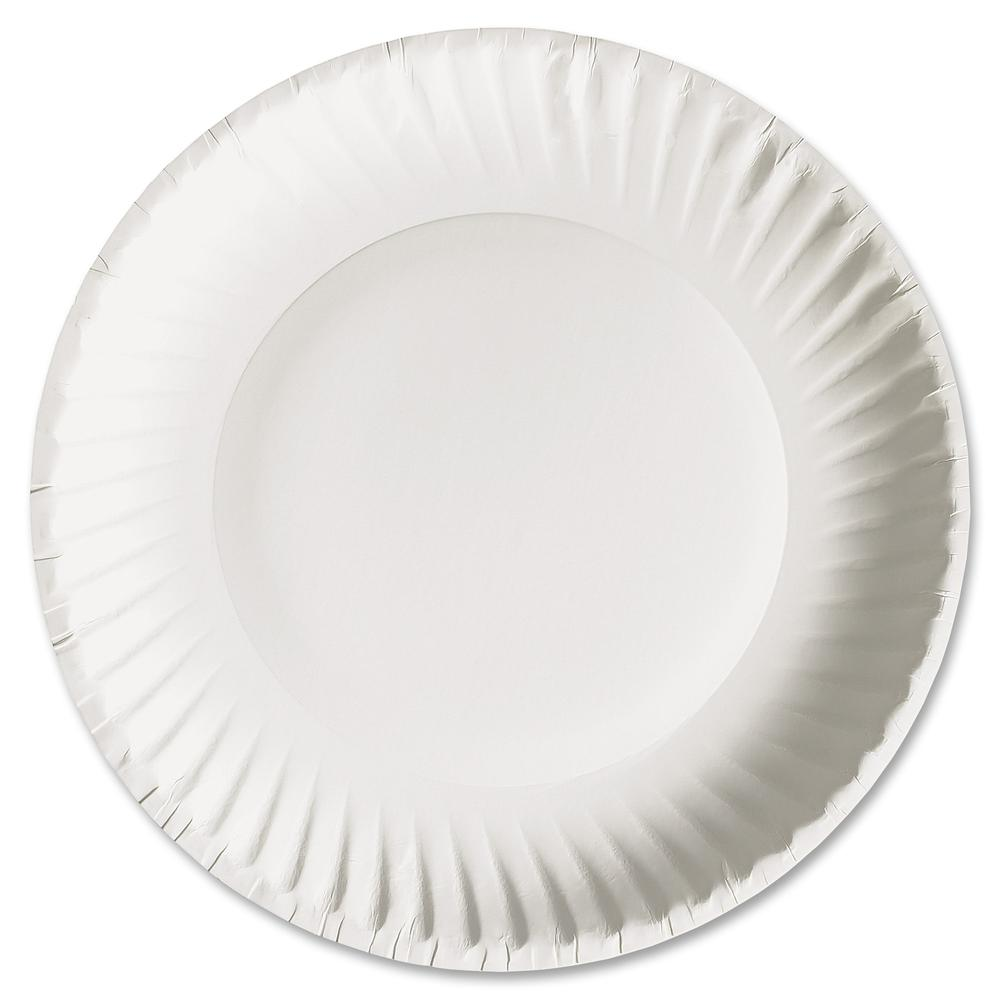 """AJM Packaging Green Label Economy Paper Plates - 6"""" Diameter Plate - Paper - Microwave Safe - White - 1000 Piece(s) / Carton. Picture 6"""