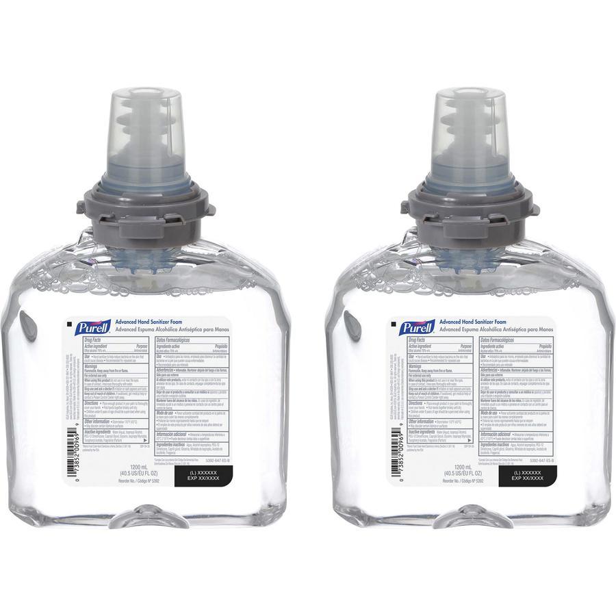 PURELL® Sanitizing Foam Refill - 40.6 fl oz (1200 mL) - Skin - White - 2 / Carton. Picture 3