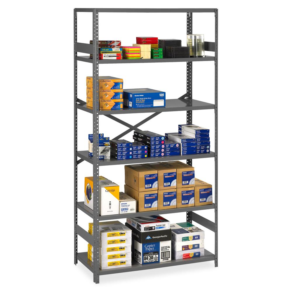 """Tennsco Commercial Shelf - 36"""" x 24"""" x 75"""" - 6 x Shelf(ves) - Medium Gray - Steel - Recycled - Assembly Required. Picture 2"""
