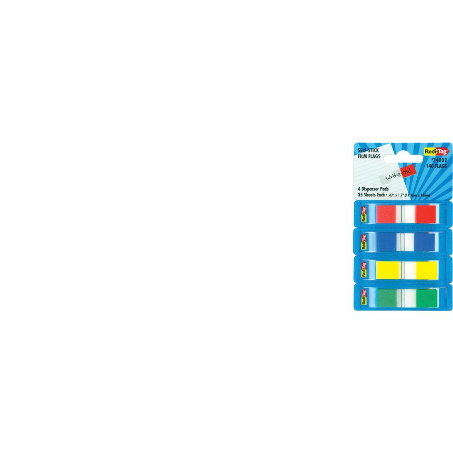 """Redi-Tag Pop-Up Page Flag Dispenser - 35 x Red, 35 x Blue, 35 x Yellow, 35 x Green - 0.50"""" x 1.70"""" - Rectangle - Assorted - Removable - 140 / Pack. Picture 2"""