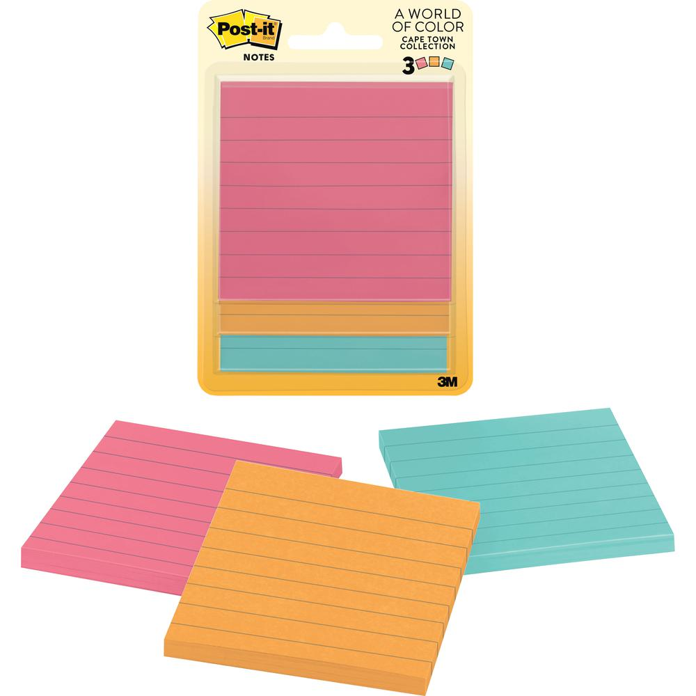 """Post-it® Notes Original Notepads - Cape Town Color Collection - 150 - 3"""" x 3"""" - Square - 50 Sheets per Pad - Unruled - Assorted - Paper - Repositionable, Self-adhesive - 3 / Pack. Picture 2"""