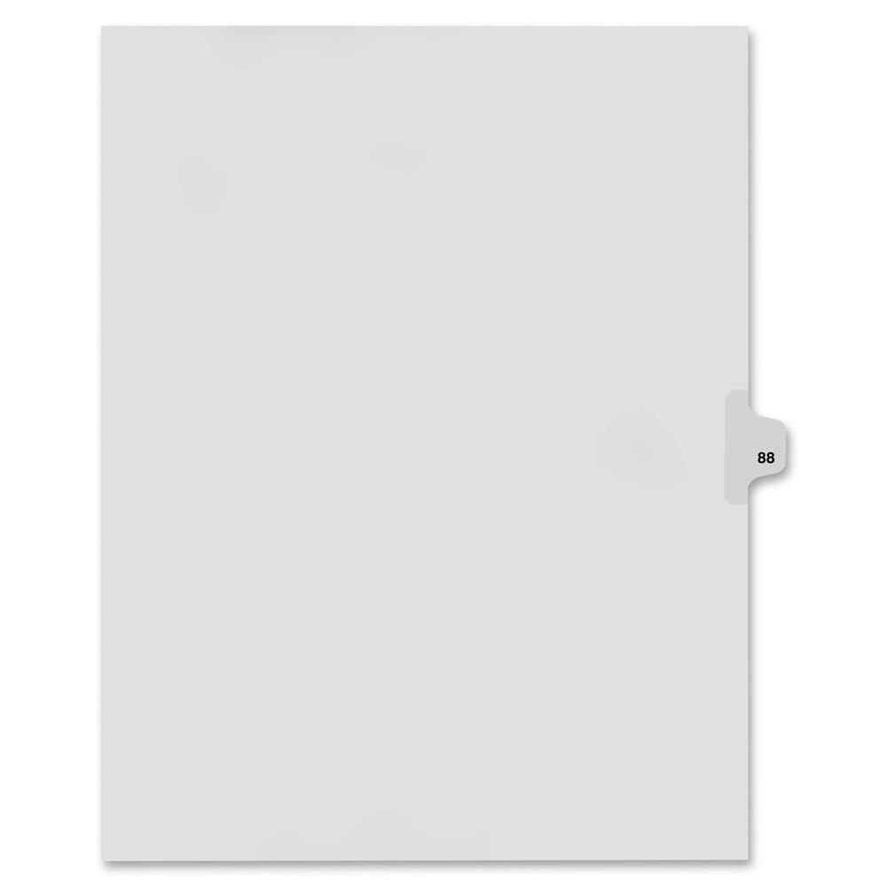 """Kleer-Fax Legal Exhibit Numbered Index Dividers - Printed Tab(s) - Digit - 88 - 8.5"""" Divider Width x 11"""" Divider Length - Letter - White Divider - 25 / Pack. Picture 3"""