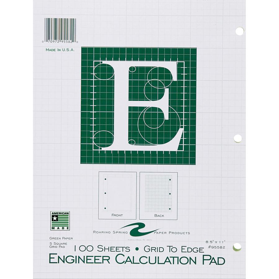 """Roaring Spring 5x5 Grid Engineering Pad, 15# Green, 3 Hole Punched, 8.5"""" x 11"""" 100 Sheets, Green Paper (Gride to Edge) - 100 Sheets - 200 Pages - Printed - Glued - Back Ruling Surface - 3 Hole(s) - 15. Picture 2"""