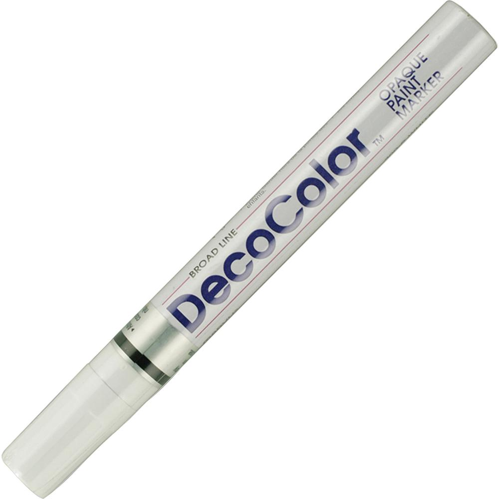 Marvy DecoColor Broad Point Paint Markers - Broad Marker Point - White Oil Based Ink - 1 Each