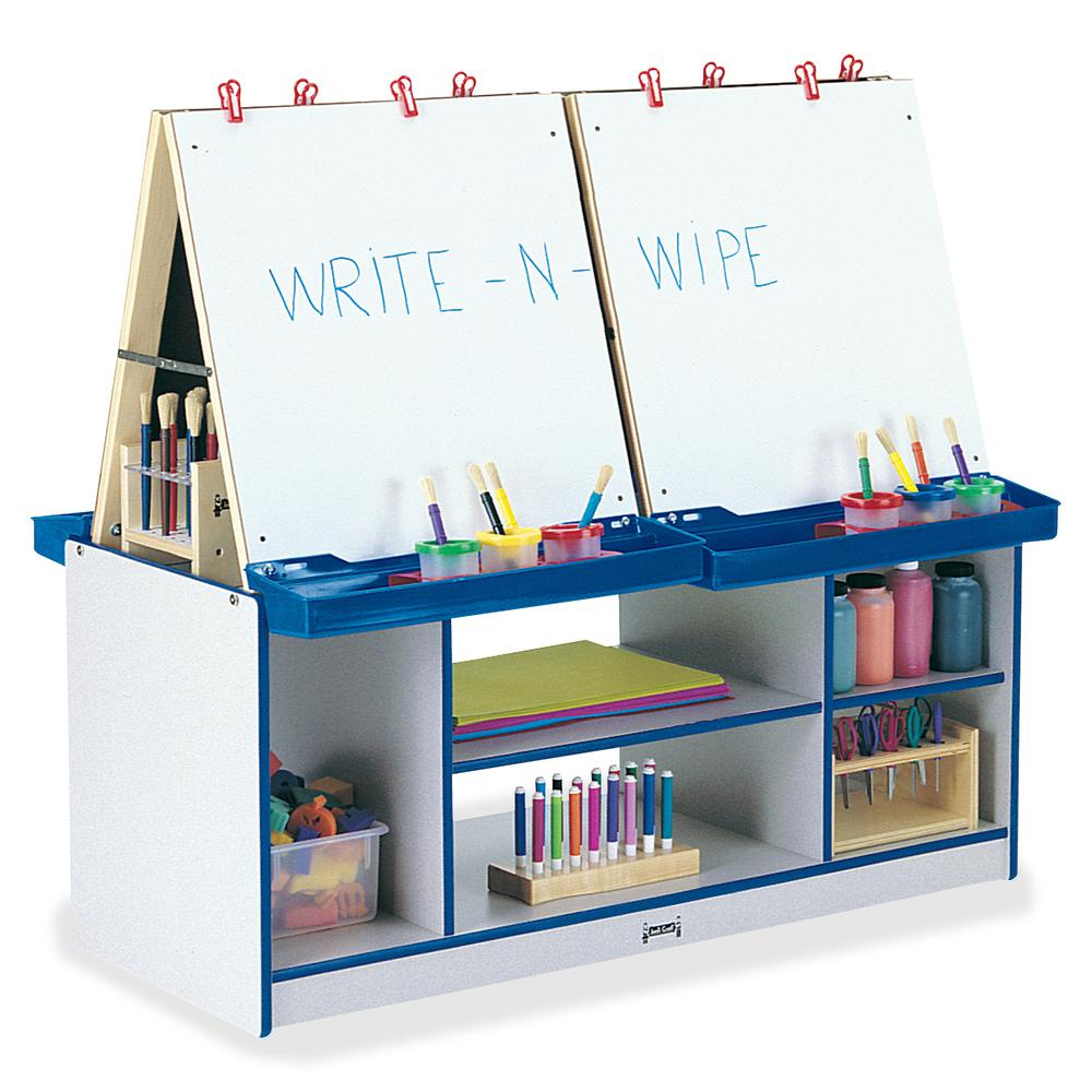 Rainbow Accents 4 Station Art Center - Freckled Gray, Blue Stand - Floor Standing - Assembly Required - 1 Each. Picture 2