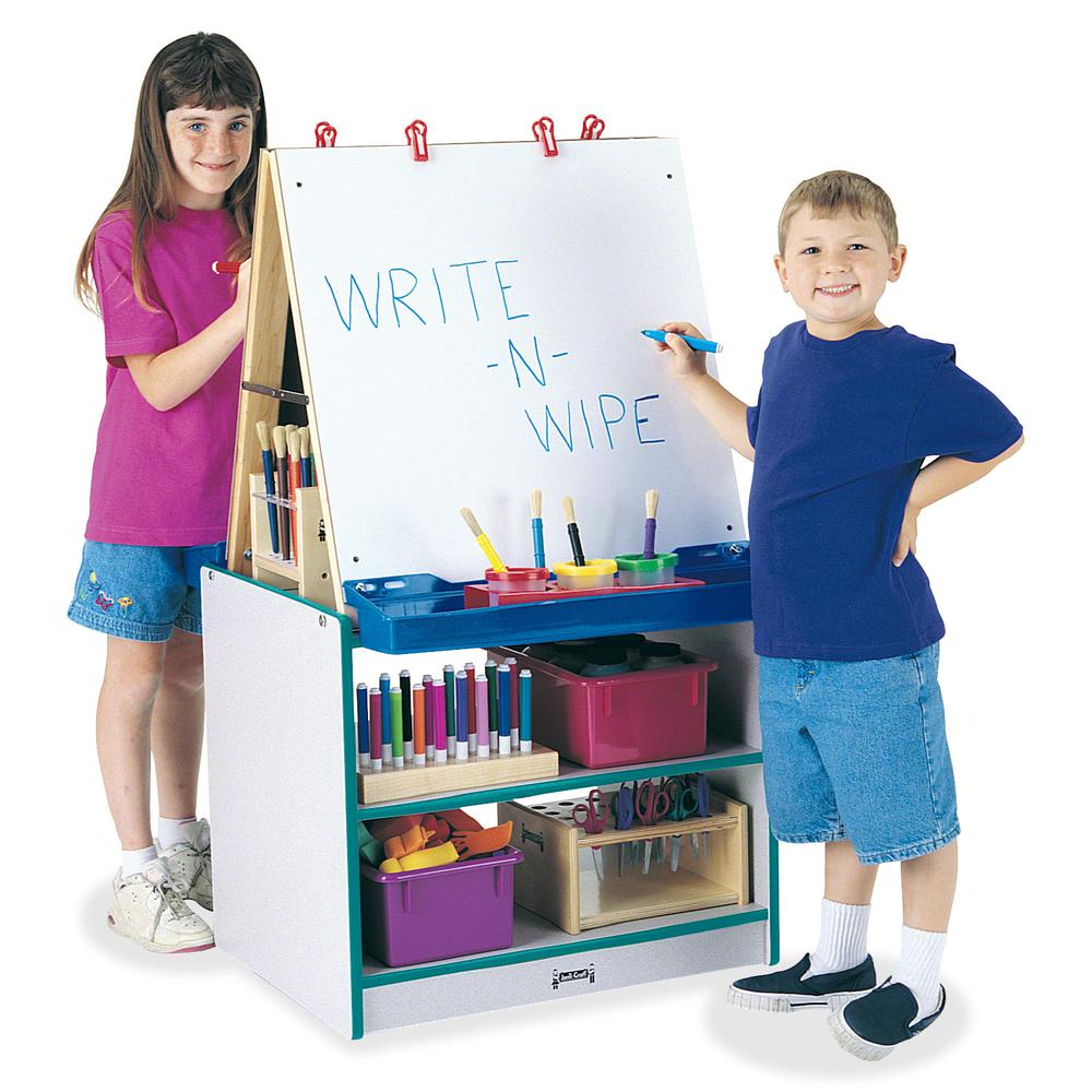 Jonti-Craft Rainbow Accents 2 Station Art Center - Freckled Gray, Teal Stand - Floor Standing - Assembly Required - 1 Each. Picture 2