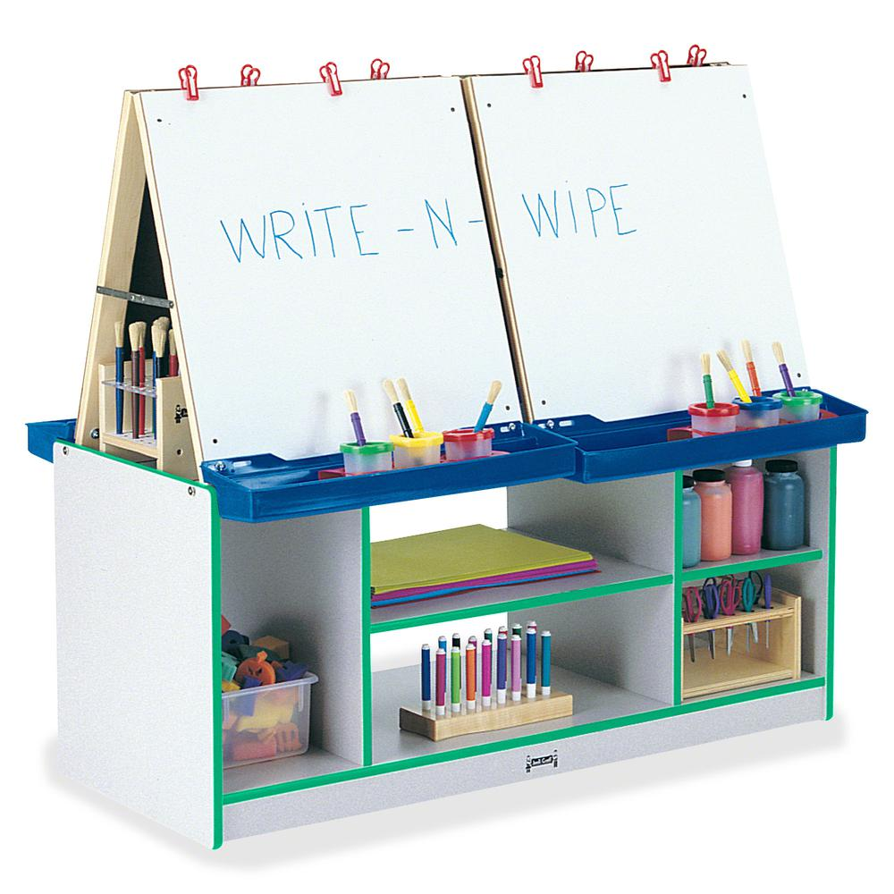 Jonti-Craft Rainbow Accents 4 Station Art Center - Freckled Gray, Green Stand - Floor Standing - Assembly Required - 1 Each. Picture 2