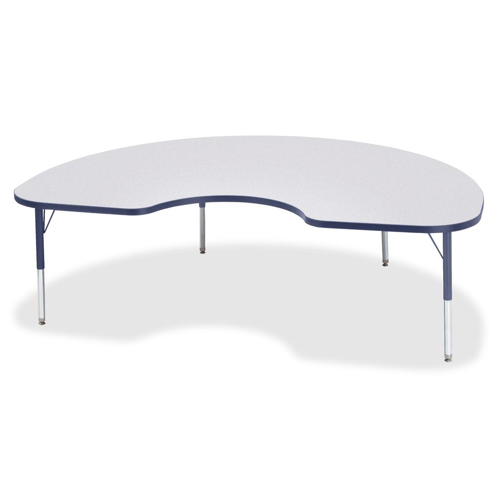 "Berries Toddler Height Color Edge Kidney Table - Laminated Kidney-shaped, Navy Top - Four Leg Base - 4 Legs - 72"" Table Top Length x 48"" Table Top Width x 1.13"" Table Top Thickness - 15"" Height - Asse. Picture 3"