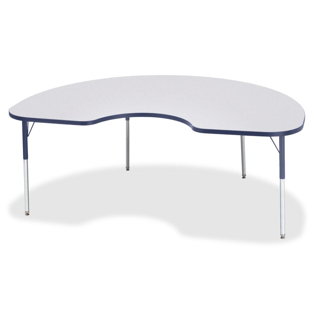 "Jonti-Craft Berries Adult Height Prism Color Edge Kidney Table - Laminated Kidney-shaped, Navy Top - Four Leg Base - 4 Legs - 72"" Table Top Length x 48"" Table Top Width x 1.13"" Table Top Thickness - 3. Picture 3"