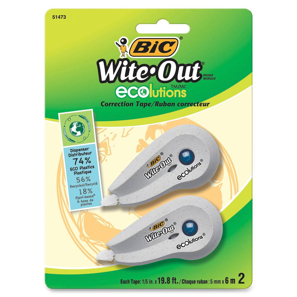 """BIC Wite-Out Correction Tape - 0.20"""" Width x 19.80 ft Length - 1 Line(s) - White TapeWhite Dispenser - Flexible Tip, Non-refillable - 2 / Pack - White. Picture 2"""