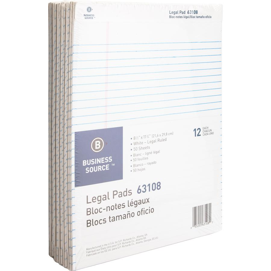"""Business Source Micro-Perforated Legal Ruled Pads - 50 Sheets - 0.34"""" Ruled - 16 lb Basis Weight - 8 1/2"""" x 11 3/4"""" - White Paper - Micro Perforated, Easy Tear, Sturdy Back - 12 / Dozen. Picture 6"""