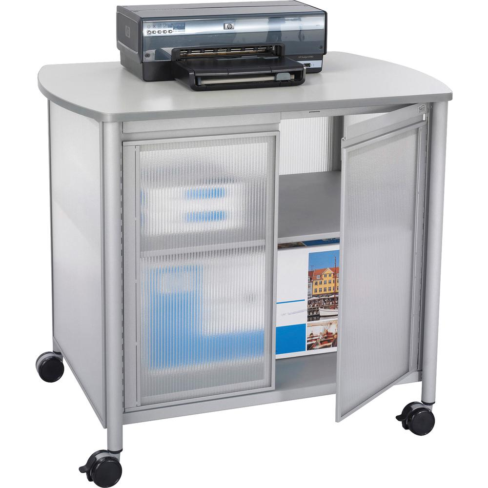 """Safco Impromptu Deluxe Machine Stand with Doors - 100 lb Load Capacity - 2 x Shelf(ves) - 30.8"""" Height x 34.8"""" Width x 25.5"""" Depth - Laminate, Powder Coated - Steel, Polycarbonate - Gray. Picture 2"""