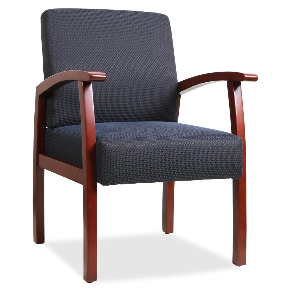 Lorell Deluxe Guest Chair - Cherry Frame - Midnight Blue - 1 Each. Picture 5