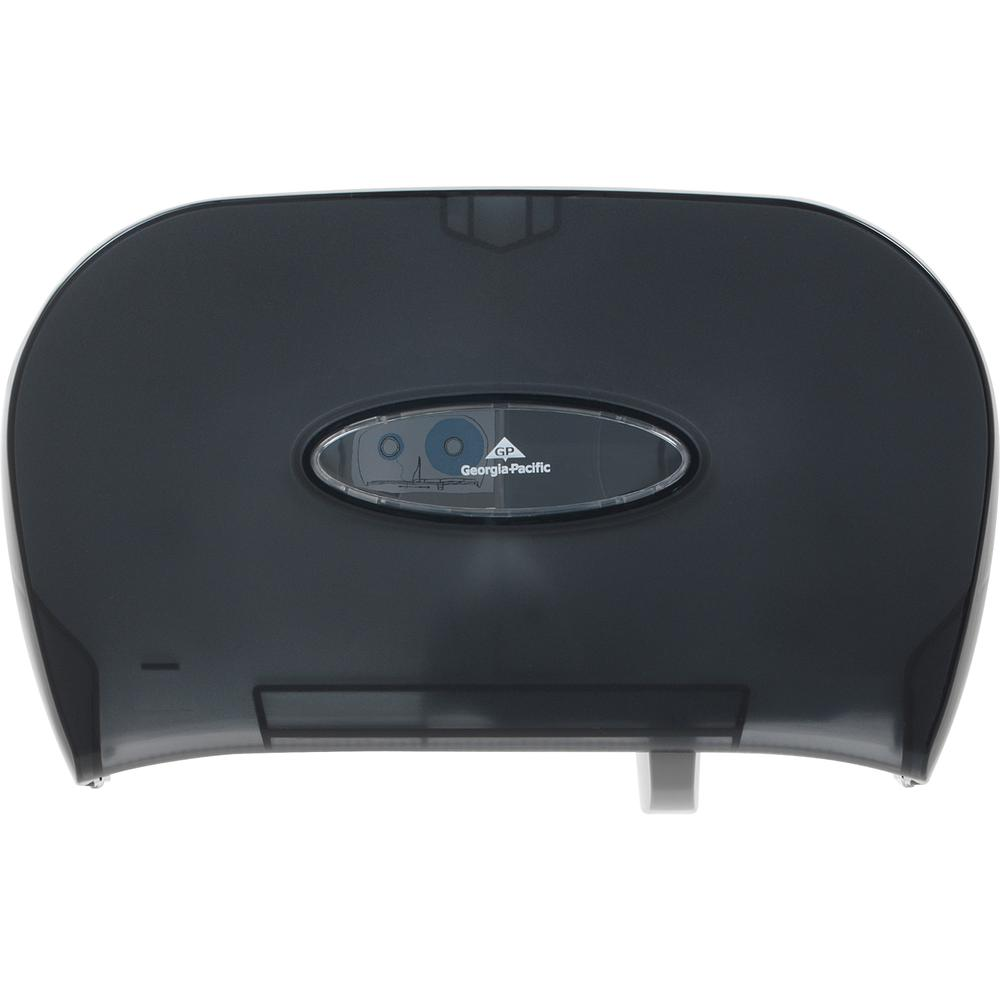 """Georgia-Pacific 2-Roll Side-By-Side Standard Roll Toilet Paper Dispenser by GP Pro - Pull Out Dispenser - 2 x Roll - 8.6"""" Height x 13.6"""" Width x 5.7"""" Depth - Black. Picture 2"""
