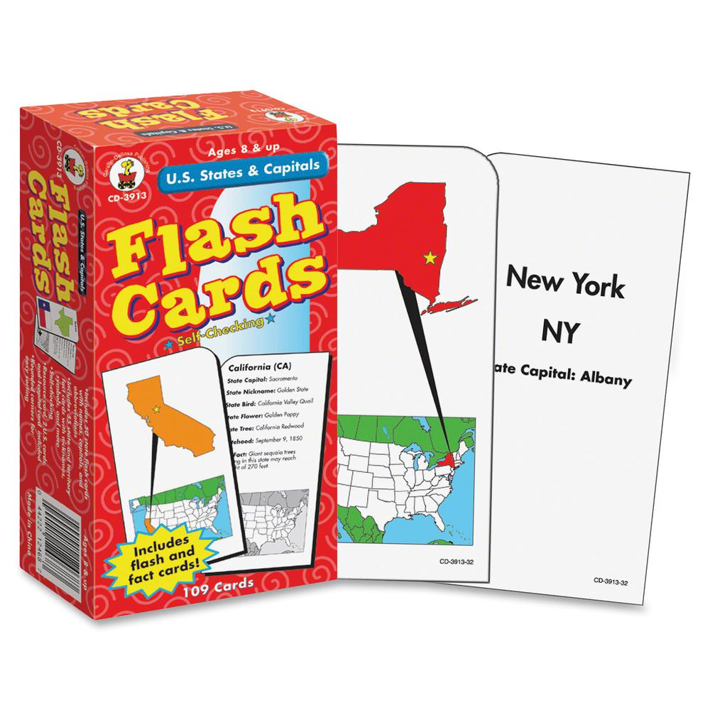 Carson Dellosa Education Grades 3-5 U.S. States/Capitals Flash Cards - Educational - 100 / Pack. Picture 2