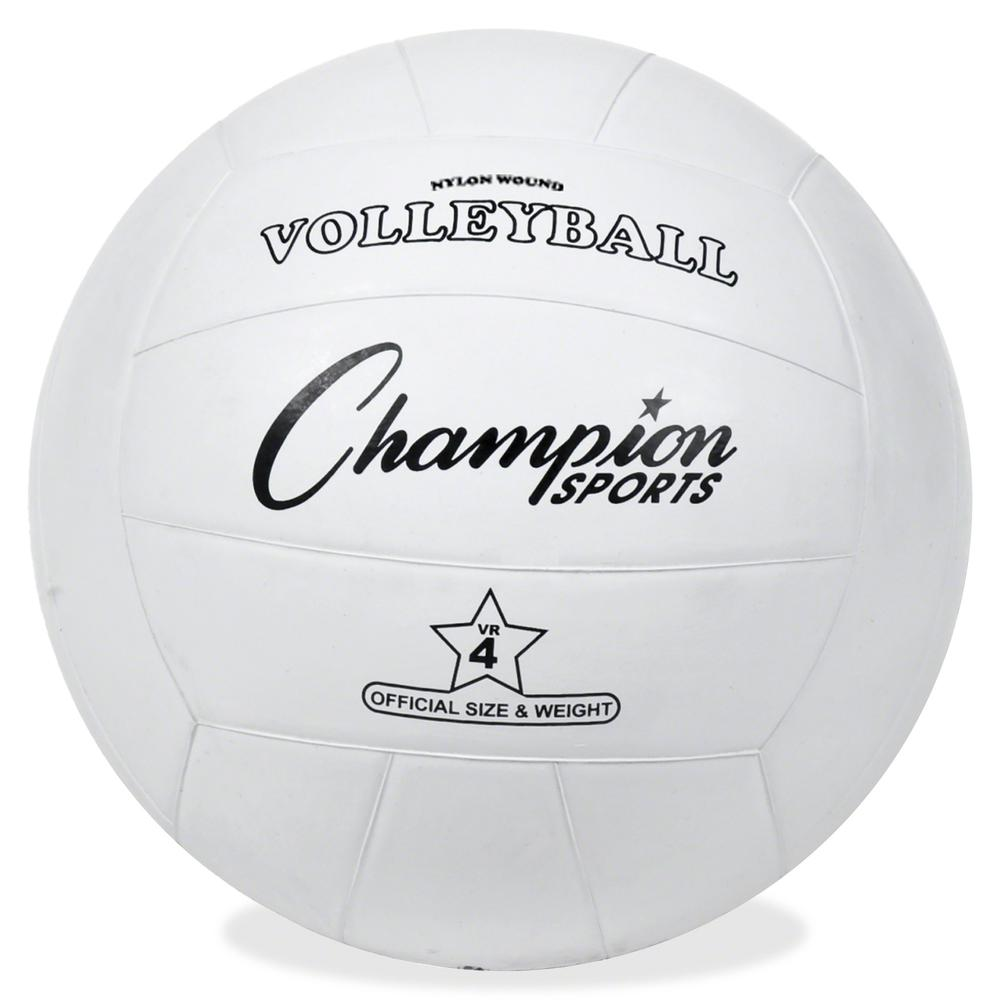 Champion Sports Rubber Volleyball - Rubber, Nylon - White - 24 / Case. Picture 2