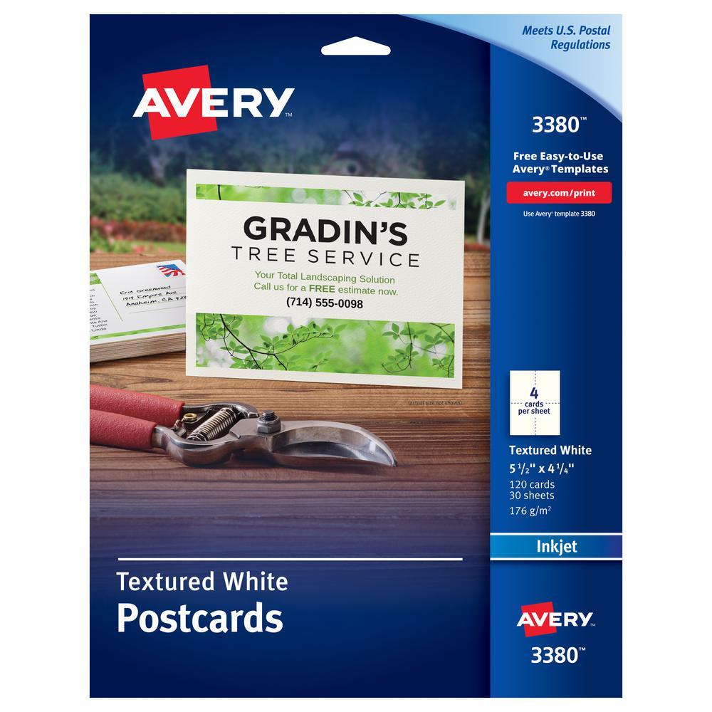 "Avery® Inkjet Postcard - 4 1/4"" x 5 1/2"" - Textured Matte - 120 / Box - White. Picture 2"