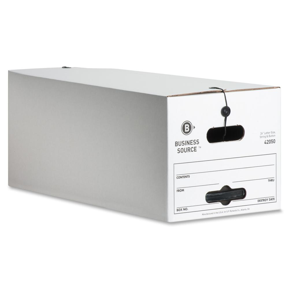"Business Source Light Duty Letter Size Storage Box - External Dimensions: 12"" Width x 24"" Depth x 10""Height - 350 lb - Media Size Supported: Letter - Light Duty - Stackable - White - For File - Recycl. Picture 7"