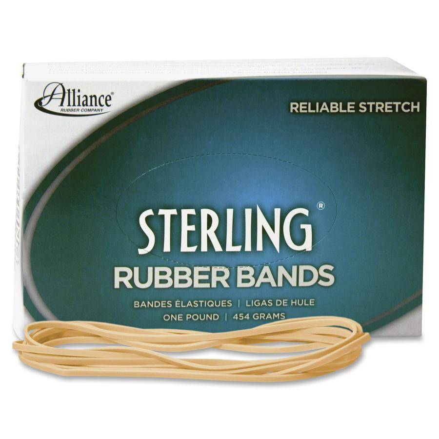 """Alliance Rubber 25075 Sterling Rubber Bands - Size #107 - Approx. 50 Bands - 7"""" x 5/8"""" - Natural Crepe - 1 lb Box. Picture 2"""