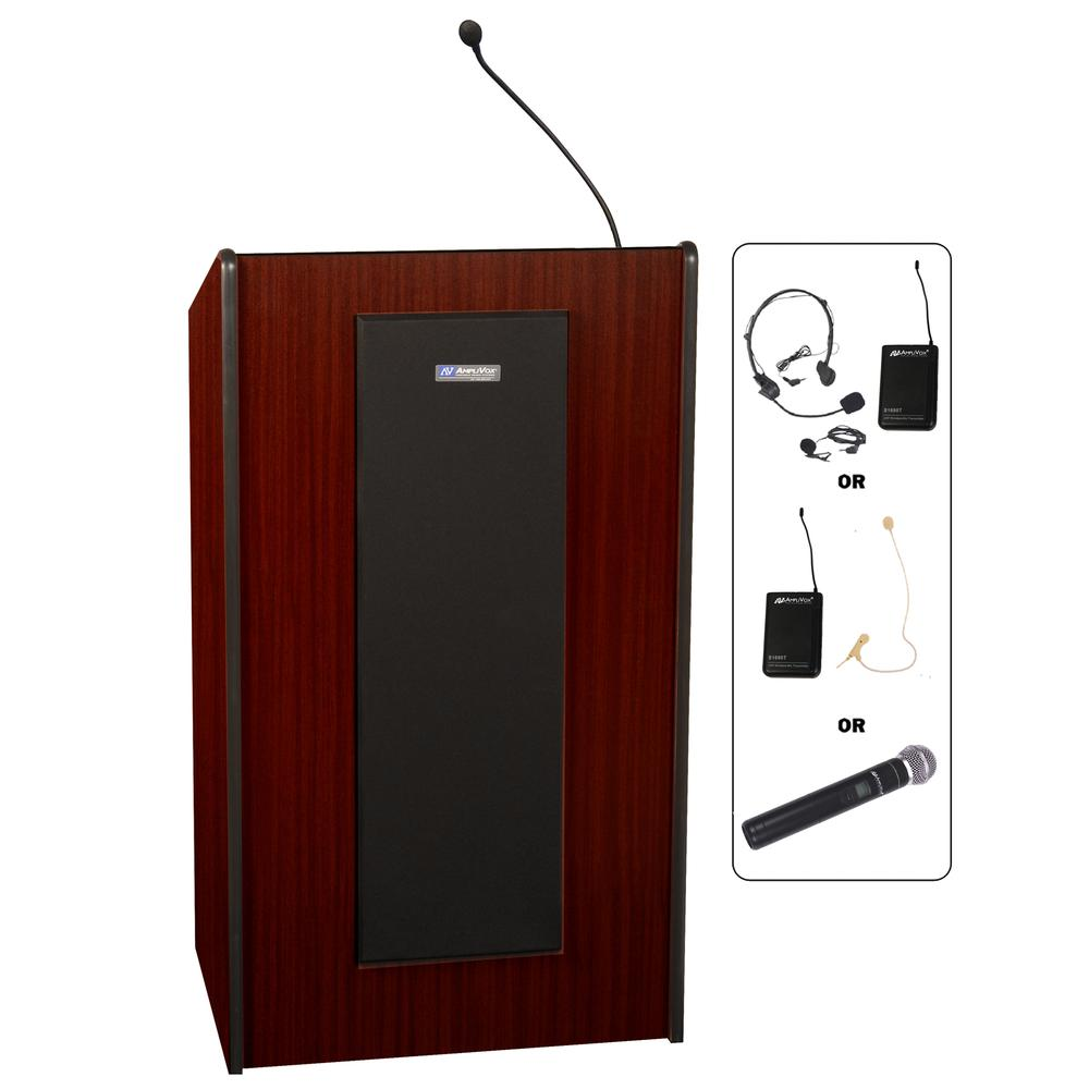 """AmpliVox SW450 - Wireless Presidential Plus Lectern - 46.50"""" Height x 25.50"""" Width x 20.50"""" Depth - Assembly Required - Mahogany. Picture 3"""