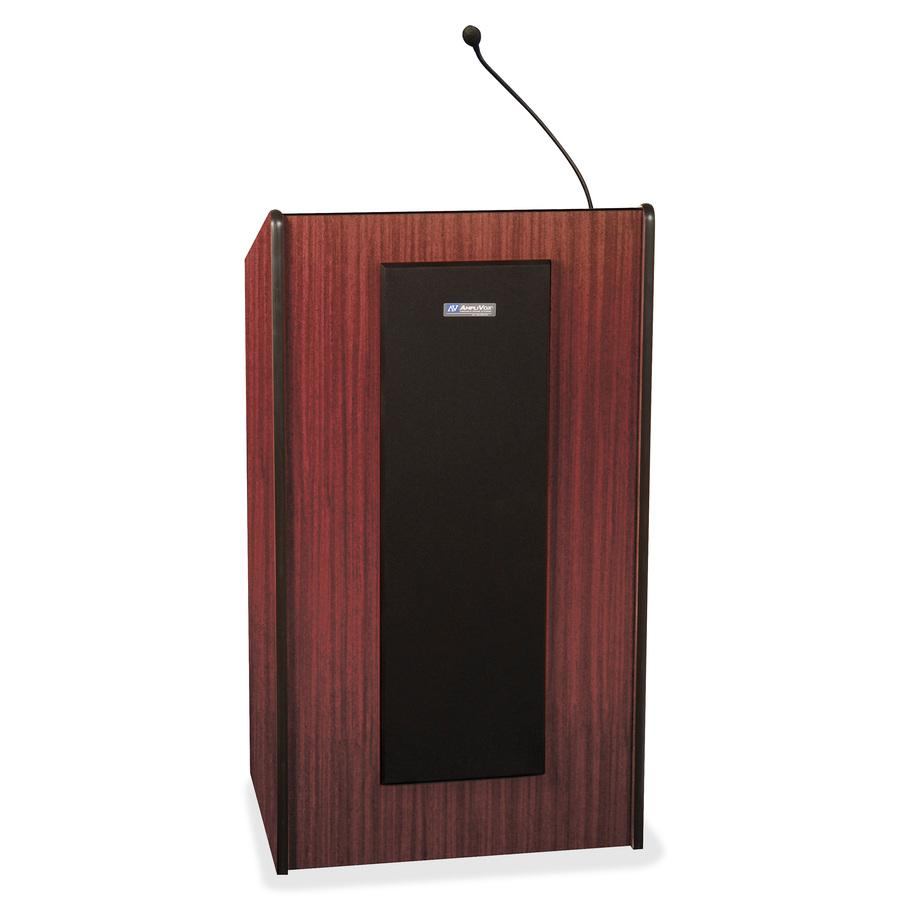 "AmpliVox S450 - Presidential Plus Lectern - Rectangle Top - Sculpted Base - 25.50"" Table Top Width x 20.50"" Table Top Depth - 46.50"" Height - Assembly Required - Laminated, Mahogany, Wood. Picture 3"
