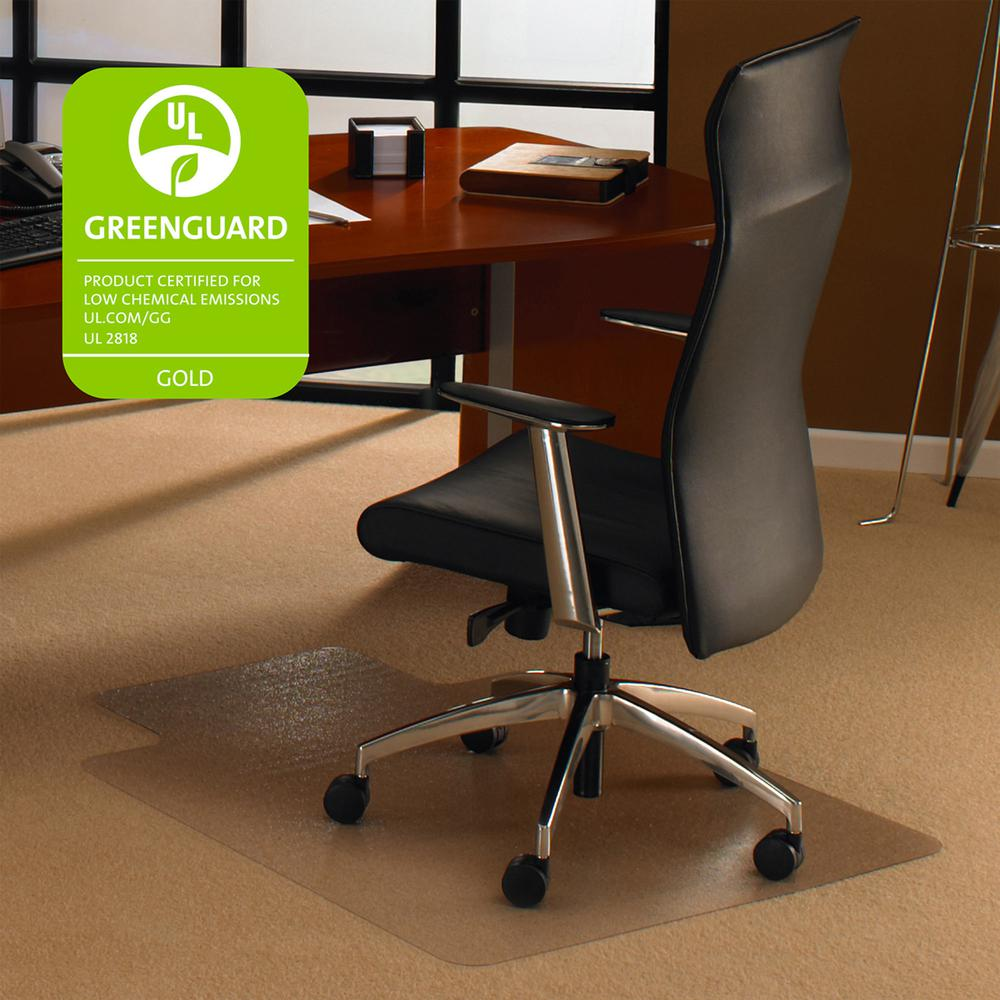 """Cleartex Ultimat Chair Mat, Clear Polycarbonate, For Low & Medium Pile Carpets (up to 1/2""""), Rectangular with Lip, Size 35"""" x 47"""". Picture 4"""