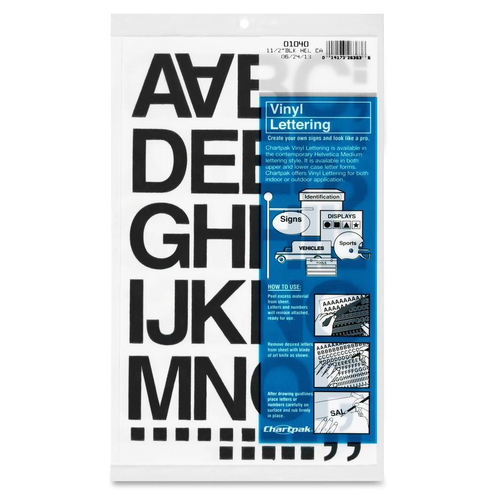 """Chartpak Vinyl Helvetica Style Letters/Numbers - 10, 35 (Numbers, Capital Letter, Symbols) Shape - Self-adhesive - Helvetica Style - 1.50"""" Height x 12"""" Length - Black - Vinyl - 1 / Pack. Picture 2"""