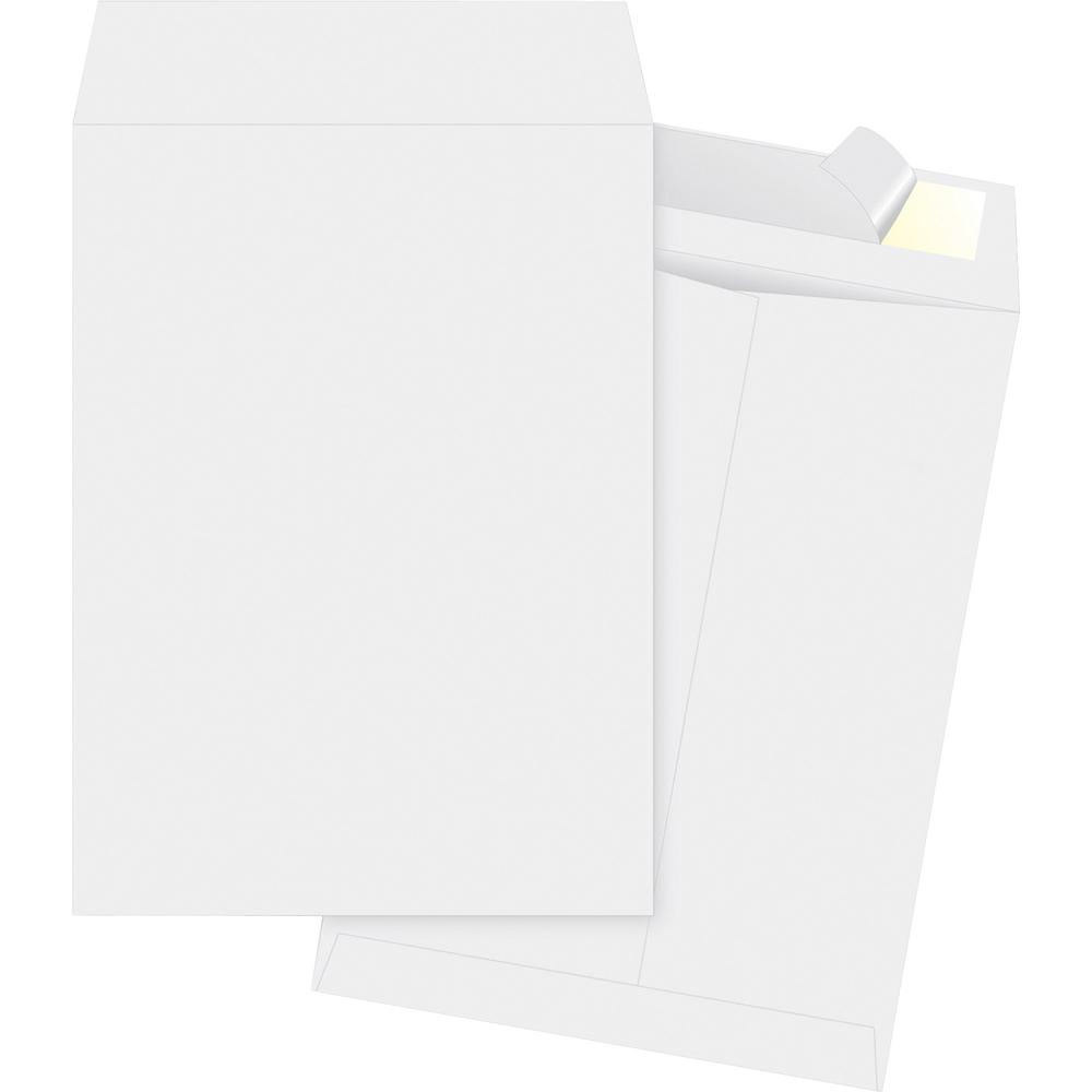 "Business Source Tyvek Open-end Envelopes - Catalog - #10 1/2 - 9"" Width x 12"" Length - Peel & Seal - Tyvek - 100 / Box - White. Picture 2"