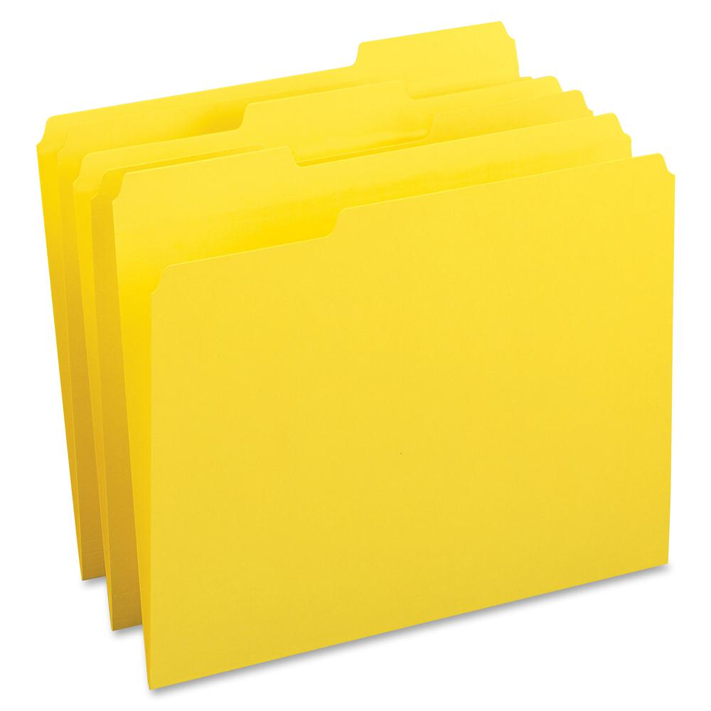 "Business Source Color-coding Top-tab File Folders - Letter - 8 1/2"" x 11"" Sheet Size - 1/3 Tab Cut - Top Tab Location - Assorted Position Tab Position - 11 pt. Folder Thickness - Yellow - Recycled - 1. Picture 2"