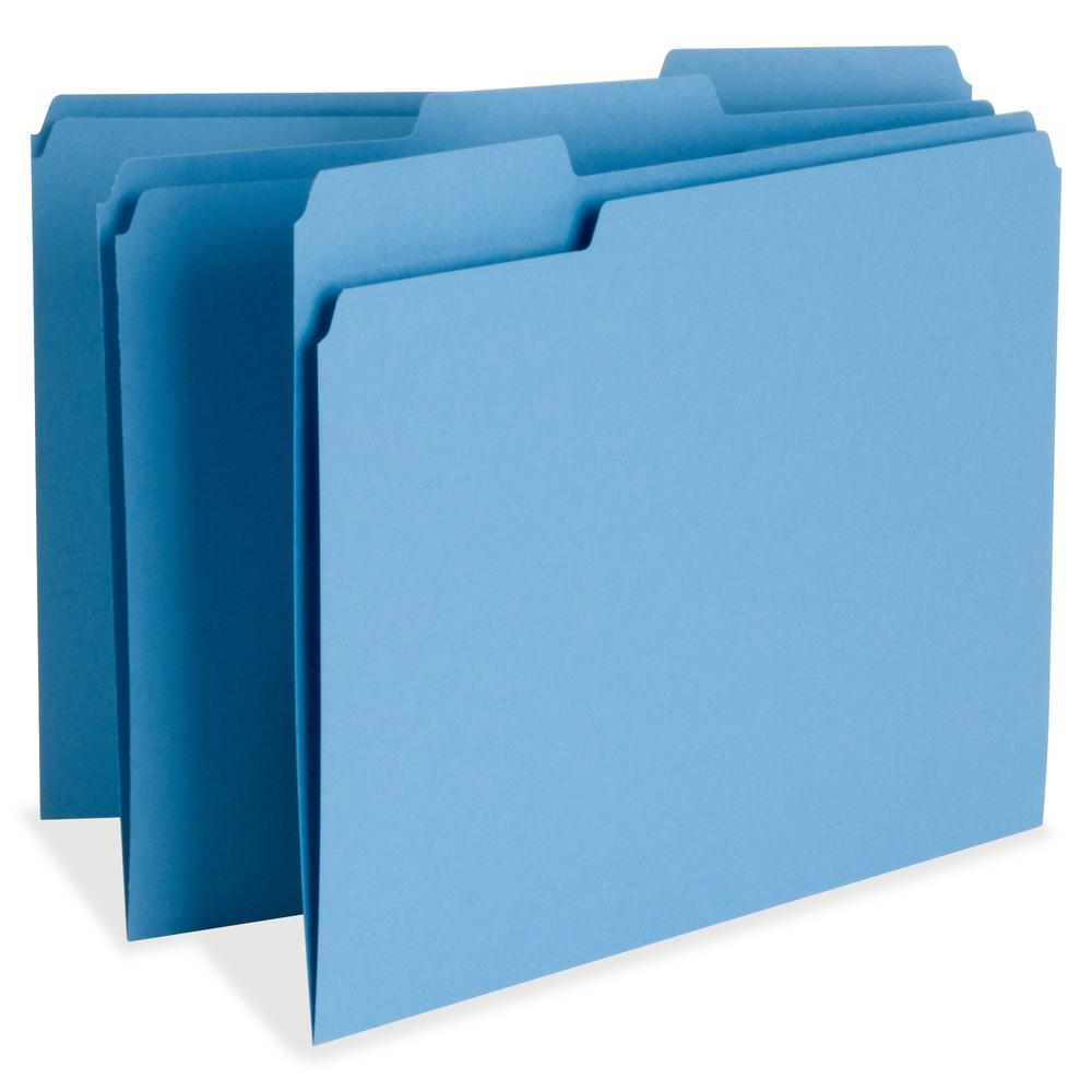 """Business Source Color-coding Top-tab File Folders - Letter - 8 1/2"""" x 11"""" Sheet Size - 1/3 Tab Cut - Top Tab Location - Assorted Position Tab Position - 11 pt. Folder Thickness - Blue - Recycled - 100. Picture 3"""