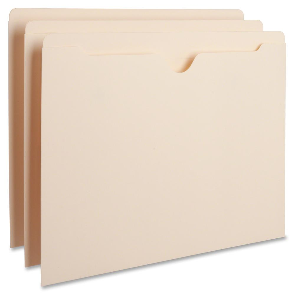 "Business Source Manila Flat File Pockets - Letter - 8 1/2"" x 11"" Sheet Size - 11 pt. Folder Thickness - Manila - Recycled - 100 / Box"