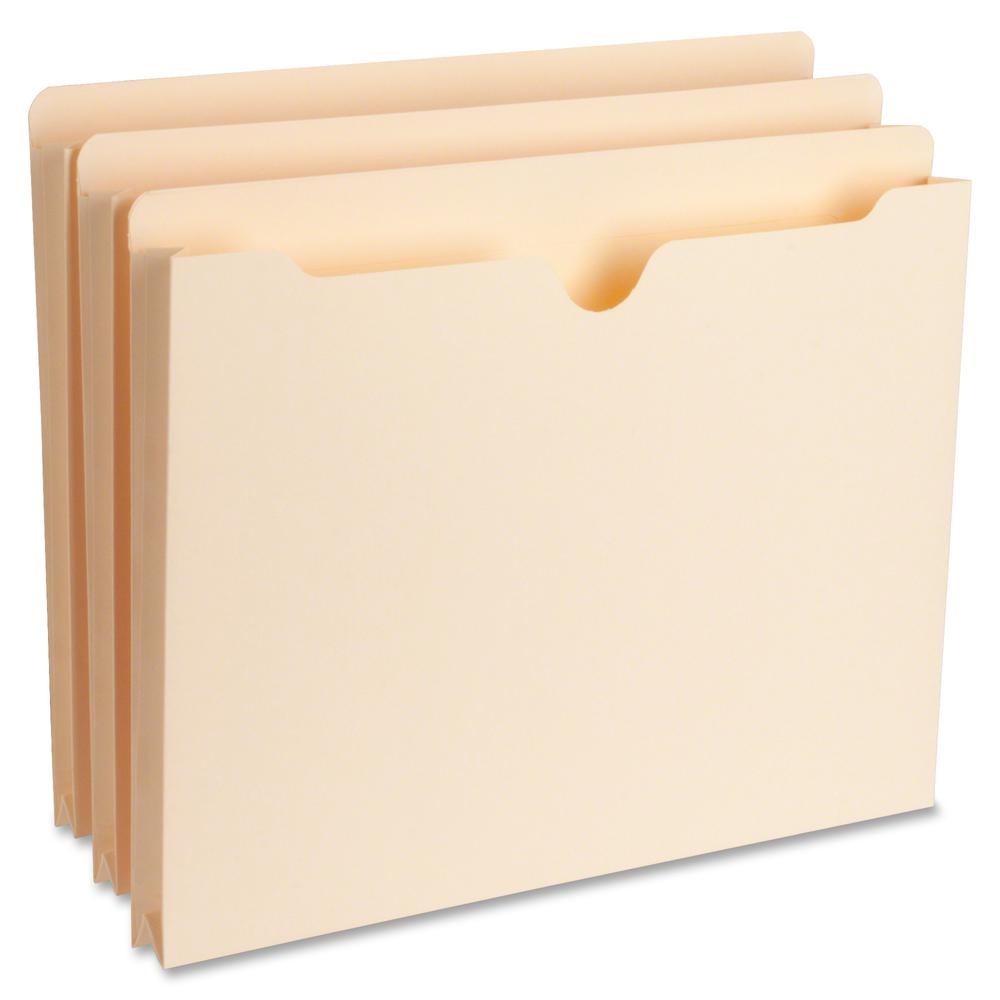 "Business Source 1"" Expansion Heavyweight File Pockets - Letter - 8 1/2"" x 11"" Sheet Size - 1"" Expansion - Straight Tab Cut - 11 pt. Folder Thickness - Manila - Recycled - 50 / Box. Picture 2"
