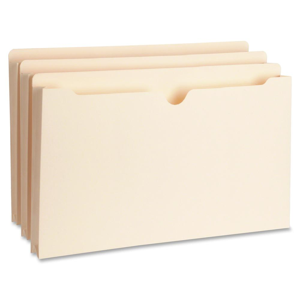 """Business Source 1"""" Expansion Heavyweight File Pockets - Legal - 8 1/2"""" x 14"""" Sheet Size - 1"""" Expansion - Straight Tab Cut - 11 pt. Folder Thickness - Manila - Recycled - 50 / Box. Picture 2"""