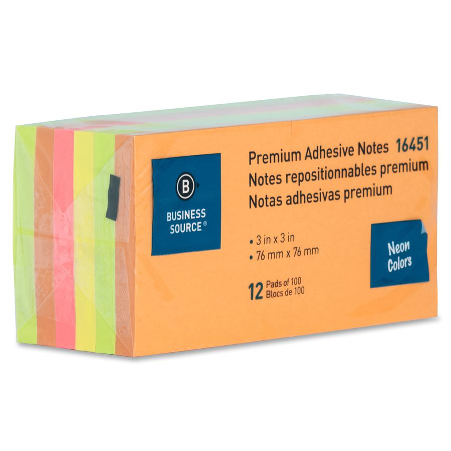 """Business Source Repositionable Neon Notes - 3"""" x 3"""" - Square - Neon - Removable, Repositionable, Solvent-free Adhesive - 12 / Pack. Picture 3"""