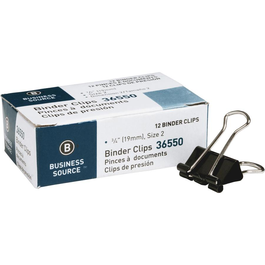 """Business Source Fold-back Binder Clips - Small - 0.8"""" Width - 0.38"""" Size Capacity - 12 / Dozen - Black - Steel. Picture 11"""