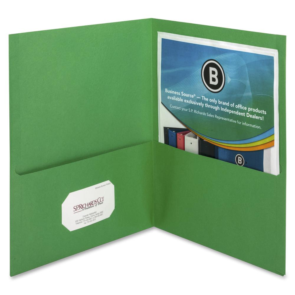 "Business Source Two-Pocket Folders - Letter - 8 1/2"" x 11"" Sheet Size - 125 Sheet Capacity - 2 Inside Front & Back Pocket(s) - Paper - Green - Recycled - 25 / Box. Picture 3"