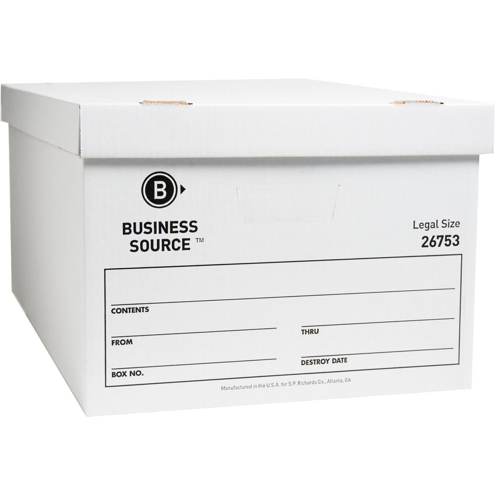 "Business Source Lift-off Lid Light Duty Storage Box - External Dimensions: 15"" Width x 24"" Depth x 10""Height - Media Size Supported: Legal - Lift-off Closure - Light Duty - Stackable - Cardboard - Whi. Picture 6"