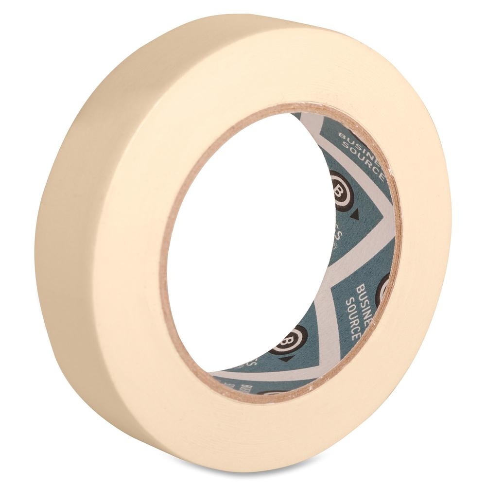"Business Source Utility-purpose Masking Tape - 60 yd Length x 1"" Width - 3"" Core - Crepe Paper Backing - 1 Roll - Tan. Picture 3"
