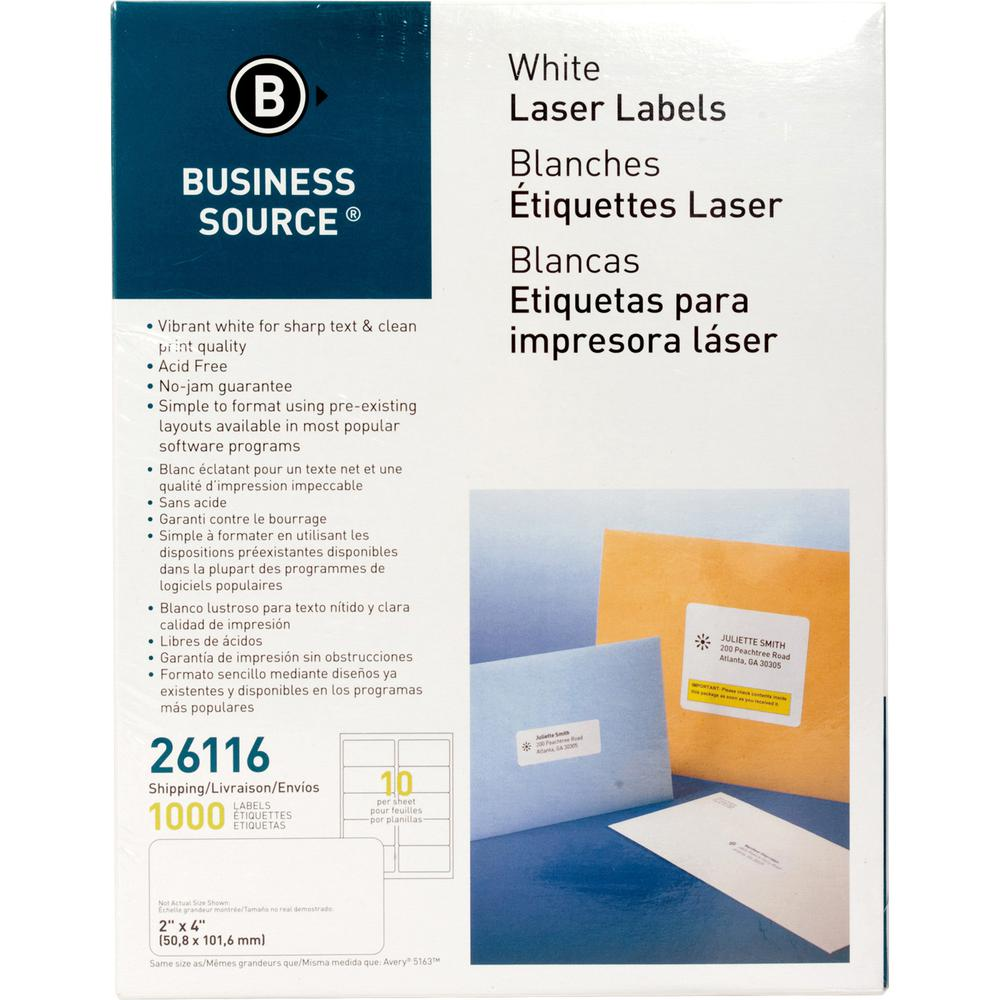 "Business Source Bright White Premium-quality Shipping Labels - Permanent Adhesive - 2"" x 4"" Length - Rectangle - Laser, Inkjet - White - 10 / Sheet - 100 Total Sheets - 1000 / Pack. Picture 2"