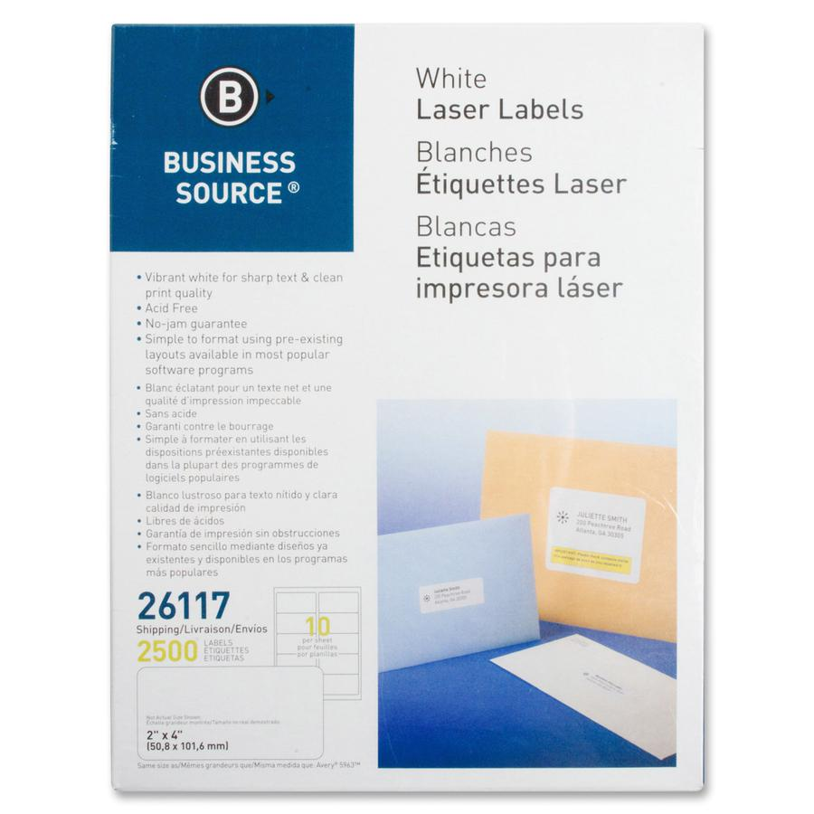 """Business Source Bright White Premium-quality Shipping Labels - Permanent Adhesive - 2"""" x 4"""" Length - Rectangle - Laser, Inkjet - White - 10 / Sheet - 250 Total Sheets - 2500 / Pack. Picture 2"""