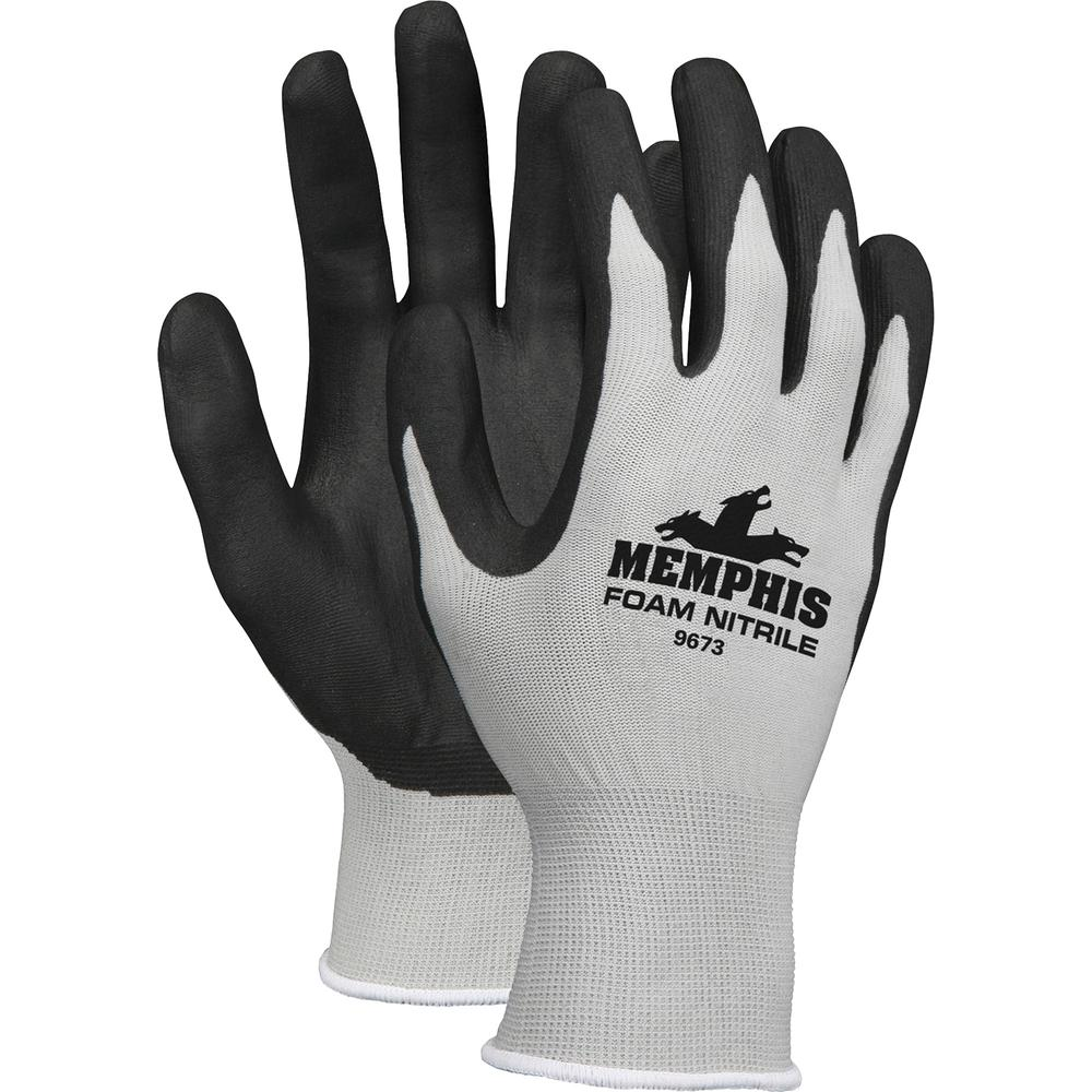 Memphis Nitrile Coated Knit Gloves - Large Size - Nylon, Foam, Nitrile - Gray, Black - Knit Wrist, Comfortable, Durable, Cut Resistant, Seamless, Spill Resistant - For Industrial, Multipurpose - 1 / P. Picture 2