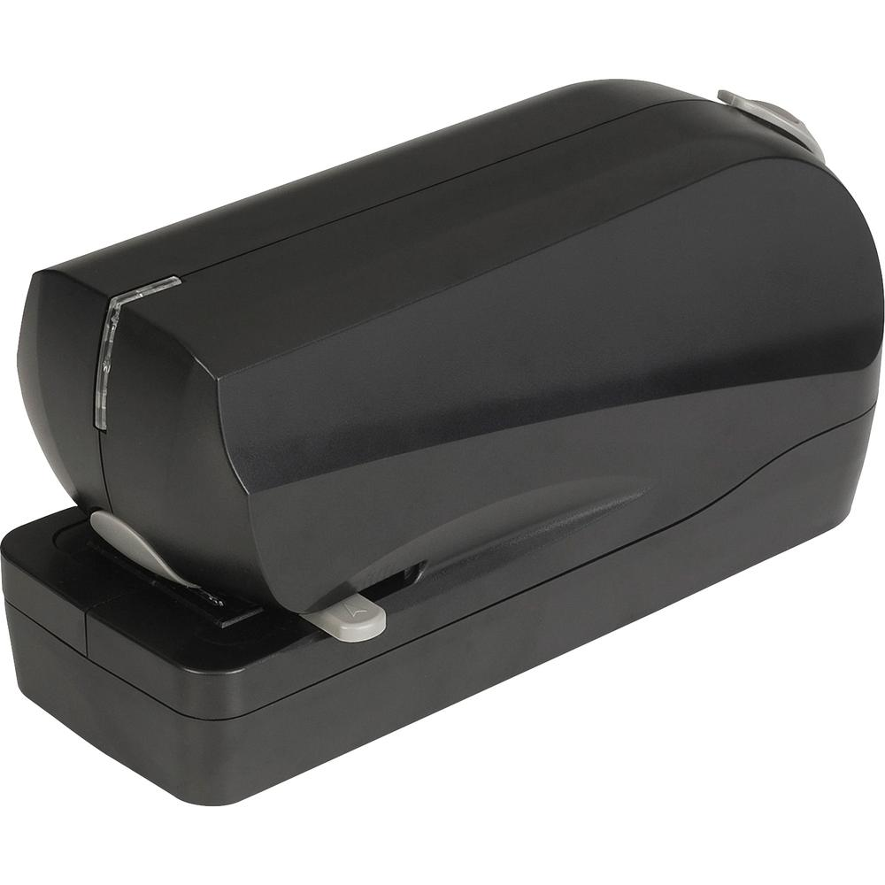 Business Source Electric Flat Clinch Stapler - 20 Sheets Capacity - 210 Staple Capacity - Full Strip - 6 x AA Batteries - Battery Included - Black. Picture 2