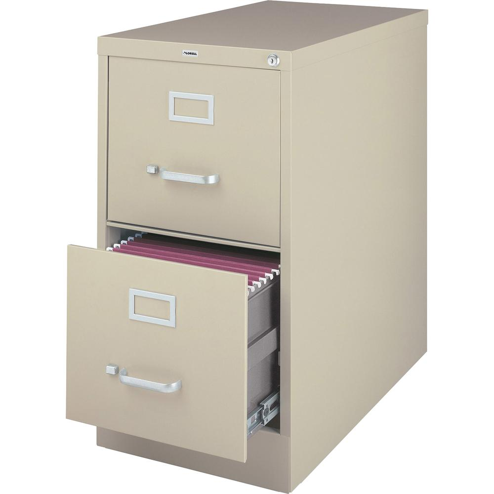 """Lorell Vertical File Cabinet - 2-Drawer - 18"""" x 26.5"""" x 28.4"""" - 2 x Drawer(s) for File - Legal - Vertical - Lockable, Ball-bearing Suspension, Heavy Duty - Putty - Steel - Recycled. Picture 3"""