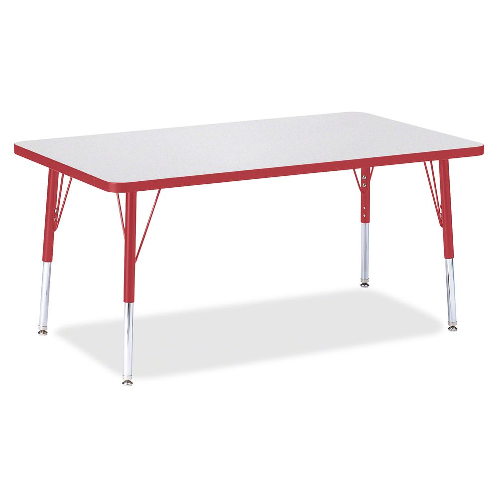 """Berries Elementary Height Gray Top Rectangular Table - Gray Rectangle, Laminated Top - Four Leg Base - 4 Legs - 48"""" Table Top Length x 30"""" Table Top Width x 1.13"""" Table Top Thickness - 24"""" Height - As. Picture 2"""