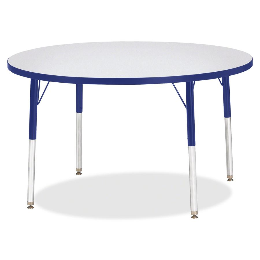 """Berries Elementary Height Gray Top Color Edge Round Table - Gray Round, Laminated Top - Four Leg Base - 4 Legs - 1.13"""" Table Top Thickness x 42"""" Table Top Diameter - 24"""" Height - Assembly Required - P. Picture 3"""
